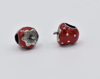 1pcs-10pcs Red Strawberry Beads, Stainless steel with Red Enamel Beads 11mmx12mm.Z9016