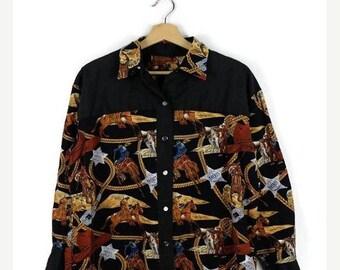ON SALE Vintage Black x Cowboy/Rancher printed cotton Blouse/horse