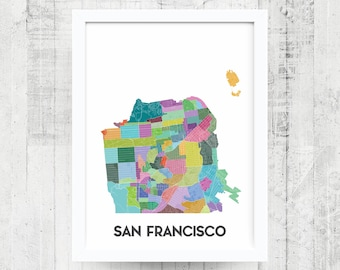 SAN FRANCISCO Neighborhood Map Print - San Francisco Art Poster - SF Map - San Francisco Map - Print - Home Decor - Office Decor - Gift