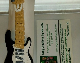 Black and White Fender Electric Guitar Mezuzah