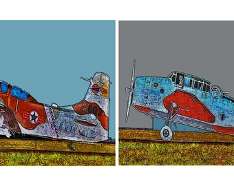 Airplane Decor Set of Two Planes, Kids Boys Room, Gray Blue Red 5x7s