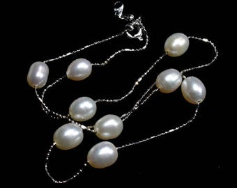 White Luster Fresh Water Pearl Necklace Dainty Platinum Chain