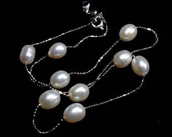 Weiß Glanz Süßwasser Perlenkette zierliche Platin Kette