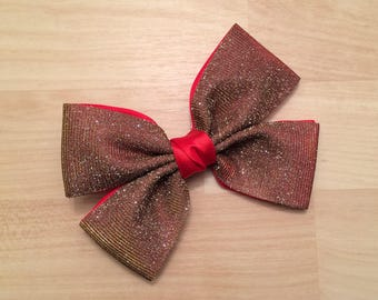 Red Hair Bow - Large Party Hair Bow - 6 inch Hair Bow - Red Glitter Hair Bow