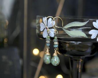 Woodland Earrings, Forest Earrings, Woodland Jewelry, Green Glass Earrings, Glass Drop Earrings, Nature Jewelry, Ceramic Earrings, Gift Idea