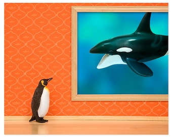 Penguin and whale print: Emperor Penguin