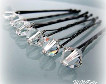 Crystal Bridal Hair Pins. Bridal Hair Pins. Swarovski Crystal Hair Pins. Wedding Hair Pins. Prom Hair Pins. Set of 6