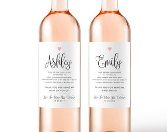 Thank You For Being My Bridesmaid Gift Wine Labels - Weatherproof Removable Wedding Be My Bridesmaid Bridesmaid Ask