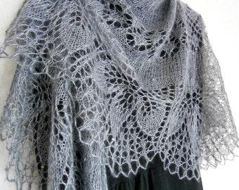Lace Shawl Knit shawl Mohair knitted wrap Hand knitted shawl Gray Smoke shawl Openwork Boho shawl Bridal shawl Hand knitting Wedding shawl