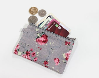 Coin purse, zipper pouch, pencil pouch, lip balm pouch, earbud pouch, change purse, rosette, zippered pouch, earbud case, pencil case, gift