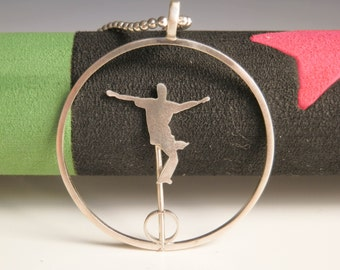 Unicycle pendant silver, Circus jewelry