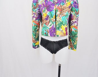 Colorful Leaves Quilted 1980's Vintage Jacket