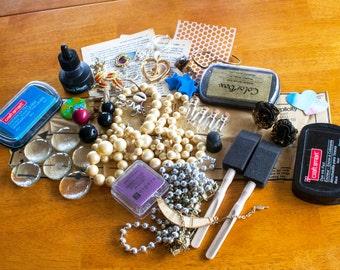Mixed media destash kit, art supplies and jewelry supplies