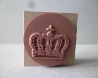 x 1 rubber stamp new wooden square motif Crown + 1 ink purple 4.5 x 4.5 cm