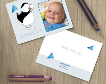 Birth announcement card with illustration of a puffin/bird - to customize together , to print yourself