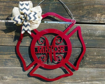 Firefighter Gift, Fireman Gift, Firefighter Door Hanger, Firefighter Decor, Fireman Wreath, Fireman Sign, Fireman Decor, Fireman Wedding