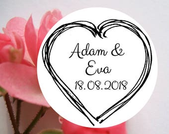 "Wedding stamp ""Heart"", personalized wedding stamp, custom wedding stamp, wedding, save the date stamp, wedding DIY, name stamp, 809"