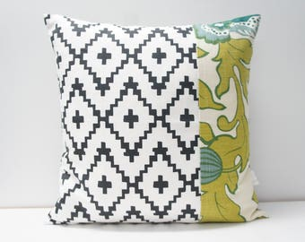 Pillow Cover - Patchwork Pillow Cover, 20x20, black and white Aztec, green and teal floral