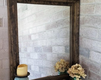 FREE SHIPPING - Farmhouse Reclaimed Wood Mirror by Lane of Lenore in 20 stains - Rustic Mirror - Mirror - Bathroom Mirror – Vanity Mirror