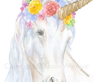 Watercolor Unicorn with a Flower Crown - 8x10 / 8.5x11 - Fine Art Giclee Reproduction Girls Room Wall Art - White Horse