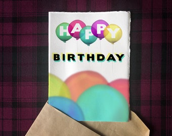 Printable Birthday Balloons 5x7 Greeting Card | Digital Download