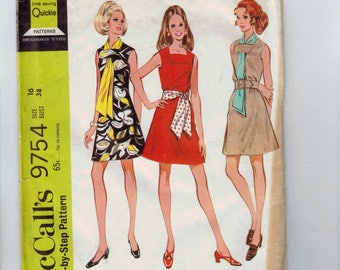 1960s Vintage Sewing Pattern McCalls 9754 Misses A Line Dress and Scarf or Sash Mod Size 16 Bust 38 1969 60s