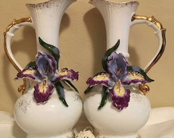 Lefton Porcelain Iris Pitcher Vase