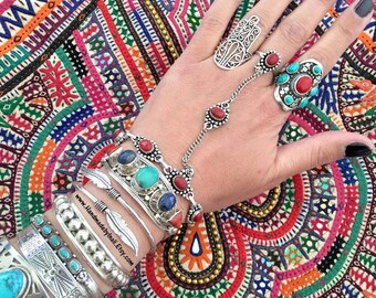 Adjustable Hand piece Combo silver plated chain bracelet and ring Bohemian Summer Festival jewelry SLAVE BRACELET style inspired by Inali