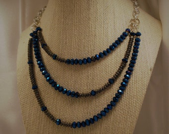 Dragonfly Blue Crystal Necklace, Bracelet, and Earrings