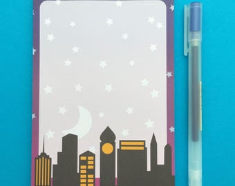 Night Sky City Scape Notepad - Ombre A6 Notepad