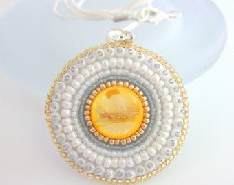 Golden Sunburst Pendant, Festival Fashion, Beach Necklace, Spring Birthday Gift for Mom Daughter Teenager, Christmas Present for Her