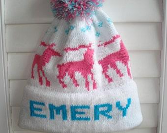 Personalized knit hat - EMERY-MICHAELA-Grace