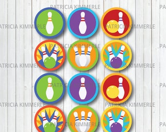 Printable Cupcake Toppers, Bowling Theme, Bowling Ball, Bowling Pin, Strick, Party, Favors, Birthday, Decorations, DIY,  INSTANT DOWNLOAD