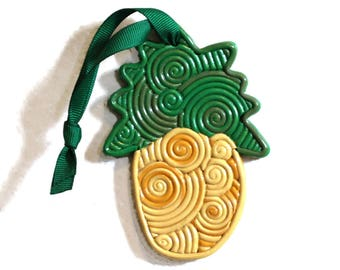 Swirly pineapple ornament, tropical Christmas ornament, Hawaiian Christmas ornament, filigree ornament, custom ornament, clay decoration