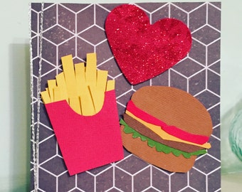 Burger and chips card