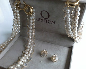 Vintage Oroton Pearl & Crystal Parure   Set of Necklace Bracelet and Earrings