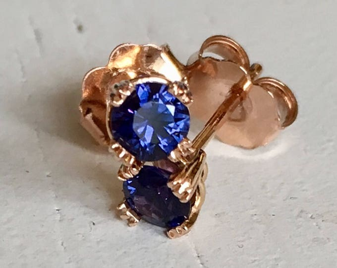 Featured listing image: Violet Blue Sapphire Earrings 14k Rose Gold