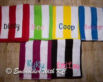 Monogrammed Beach Towel, Personalized Pool Towel, Embroidered Name on Towel, Bachelorette Party Favor, Child's Pool Party Favor