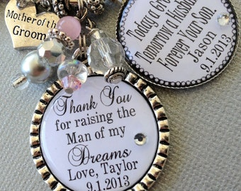 PERSONALIZED Mother of the BRIDE gift, MOTHER of the Groom gift man of my dreams, woman of my dreams, love you today, thank you gift, heart