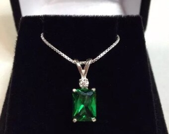 Beautiful 1.5ct Emerald & White Sapphire Sterling Silver Pendant Necklace Jewelry Gifts Trending Jewelry Green Emerald Cut Emerald Necklace