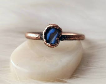 Size 8.75 blue labradorite stacker ring electroformed copper crystal ring