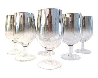 Silver Fade Wine Goblets, S/6