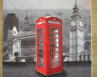 Napkin, British phone booth, 33 x 33, sold by 3, collage, scrapbooking, DIY, London Big Ben, Parliament