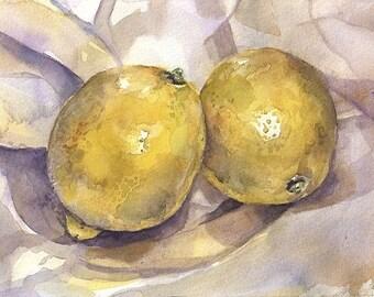 2 Lemons Watercolor Print- Yellow, Grey, Purple- Realistic Still Life- 5x7