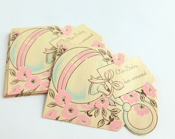 Our Baby Has Arrived New Baby Birth Announcements Lot of 10 Unused Mid Century Fill in the Blank Gender Neutral Cards