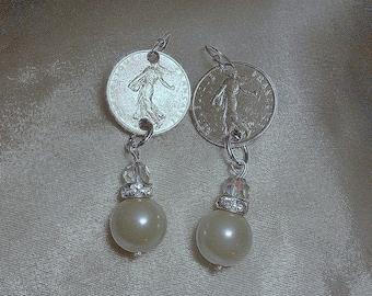 France  Coin Earrings 1965