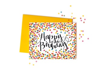 Confetti Happy Birthday Cards with Handwritten Typography, Boxed Set of Greeting Cards