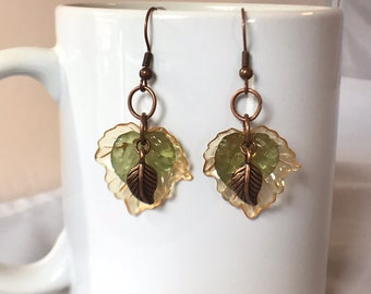 Copper Amber Yellow & Green Leaf Nature Earrings, Copper Amber Yellow and Green Leaves Nature Jewelry, OOAK Earrings, Nature Leaf Earrings
