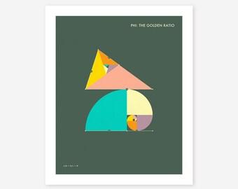 Phi: THE GOLDEN RATIO (Giclée Fine Art Print/Photo Print/Poster Print) dark version