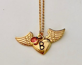 Personalized gold Angel heart Wing/birthstone Necklace, Handstamp Initial, Personalized Gift For Women, Memorial Jewelry